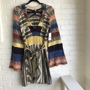 Free people patchwork Sweater Dress Small NEW